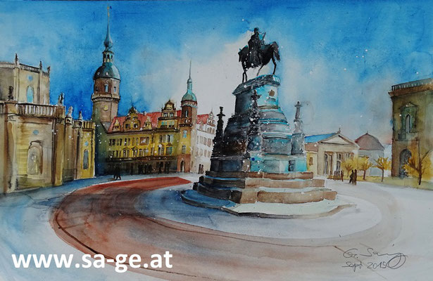 Theaterplatz in Dresden - 56x36cm, 2015