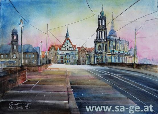Auf der Augustusbrücke in Dresden - 76x56cm, 2015