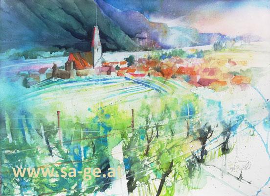 Blick auf Weißenkirchen, 67x50cm, 2020/09