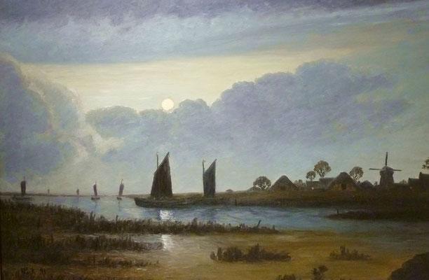 87) Hans Pick: Torfboote am Abend (80 x 120) Verkauft