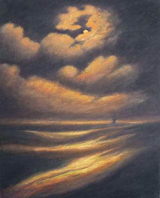 8) Hans Pick: Einsames Segelschiff (80 x 100) Verkauft