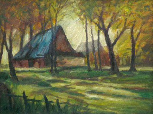 63) Hans Pick: Haus im Moor (60 x 80) Verkauft
