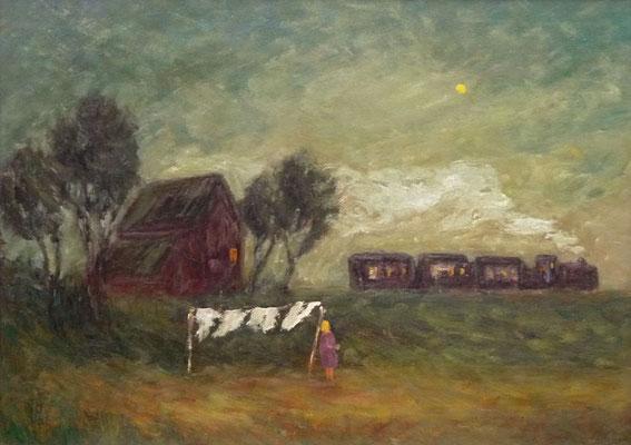 82) Hans Pick: Die Moor-Bahn (50 x 70) Verkauft