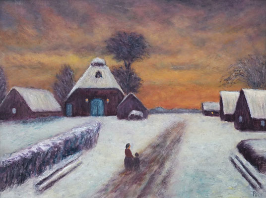 23) Hans Pick: Winter in Worpswede (50 x 70) Verkauft