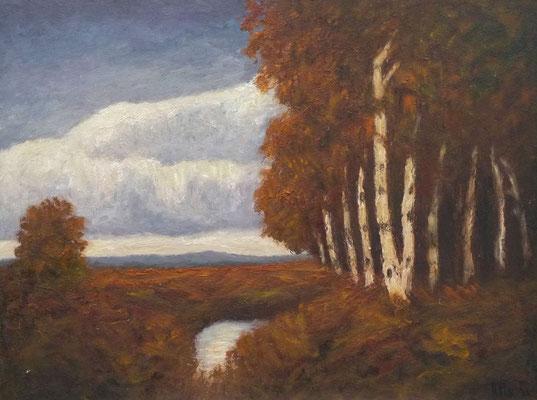 77) Hans Pick: Moor-Birken (50 x 70) Verkauft