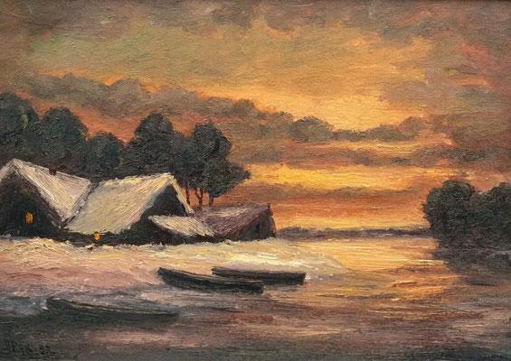 58) Hans Pick: Am Bootshaus (50 x 70) Verkauft