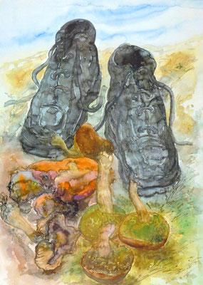 Günter Grass Algraphie: Pilze und Schuhe (69,7 x 49,5 / 77 x 53,7; am Markt erhältlich)