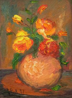 69) Hans Pick: Bunter Blumenstrauß (70 x 50) Verkauft