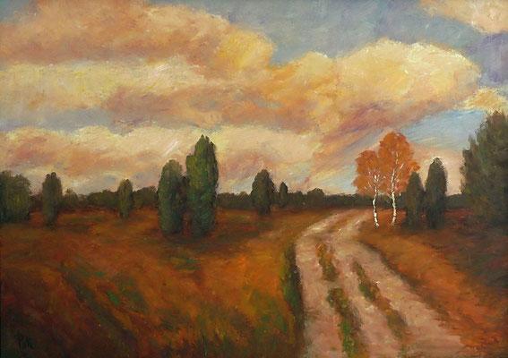 36) Hans Pick: Weg durch die Heide (50 x 70) Verkauft