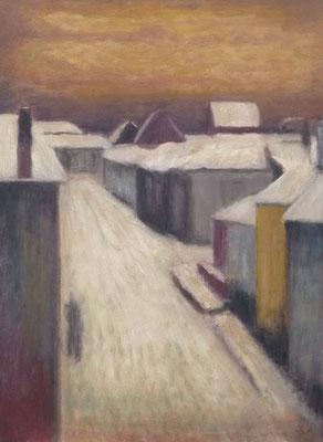 79) Hans Pick: Großstadt-Winter (80 x 60) Verkauft