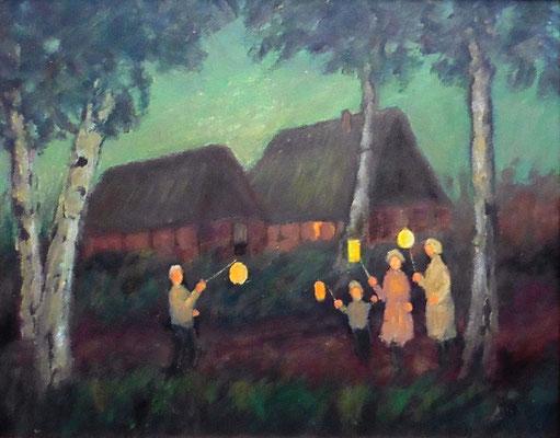 89) Hans Pick: Laternenkinder vor dem Moorhof (40 x 50) Verkauft