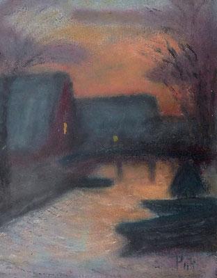 26) Hans Pick: Fischerhuder Boothäuser (24 x 18) Verkauft