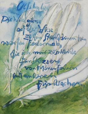 Günter Grass Algraphie: Die Wildgänse (36 x 46 / 46 x 60; am Markt vergriffen, 1 x lieferbar)
