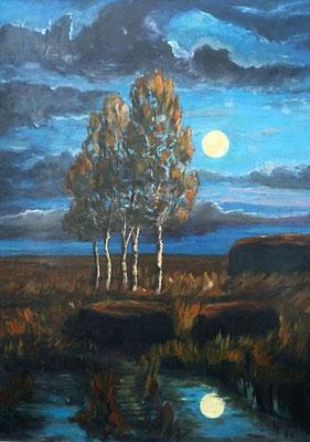 38) Hans Pick: Mondnacht im Moor (70 x 50) Verkauft