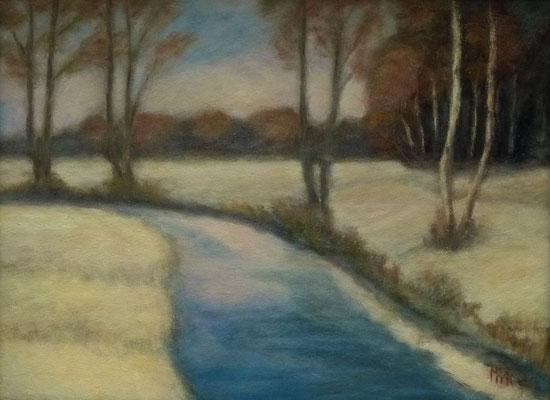 53) Hans Pick: Winter am Fluß (24 x 30) Verkauft