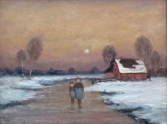 33) Hans Pick: Schlittschuhlaufen im Moor (24 x 30) Verkauft