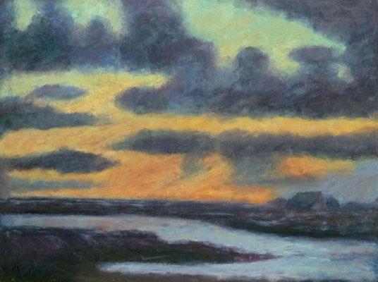 75) Hans Pick: Blauer Abend im Moor (60 x 80) Verkauft
