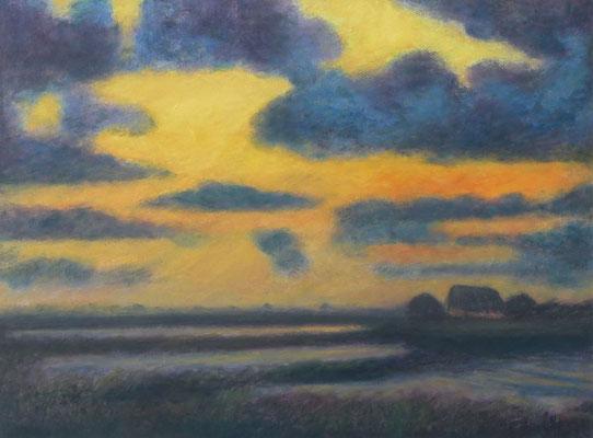 21) Hans Pick: Sonnenuntergang im Teufelsmoor (60 x 80) Verkauft