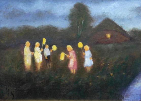 88) Hans Pick: Laternenkinder (18 x 24) Verkauft