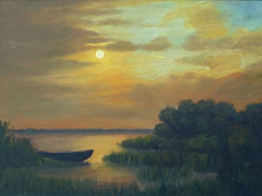 22) Hans Pick: Abendstimmung am See (50 x 70) Verkauft