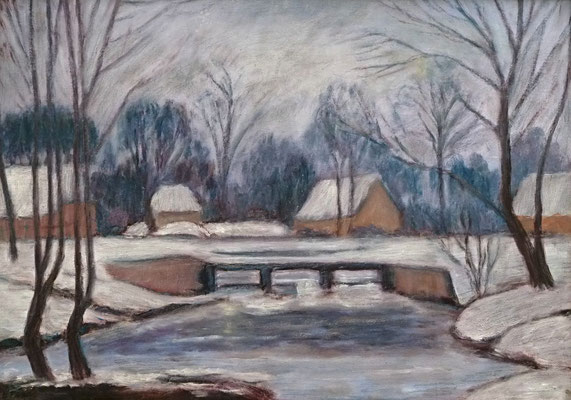 80) Hans Pick: Winter in Fischerhude (50 x 70) Verkauft