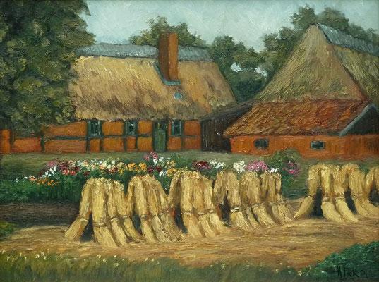 64) Hans Pick: Bauernhaus mit Kornhocken (50 x 70) Verkauft