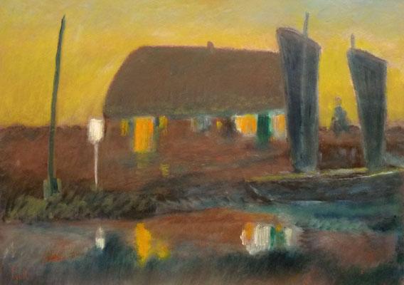 73) Hans Pick: Fährhaus an der Wümme (60 x 80) Verkauft