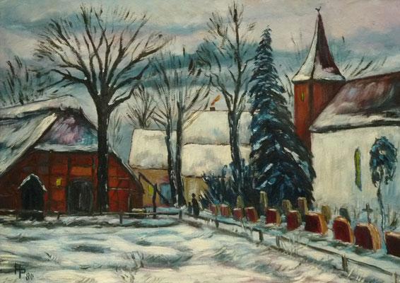46) Hans Pick: Kirche in Fischerhude (50 x 70) Verkauft
