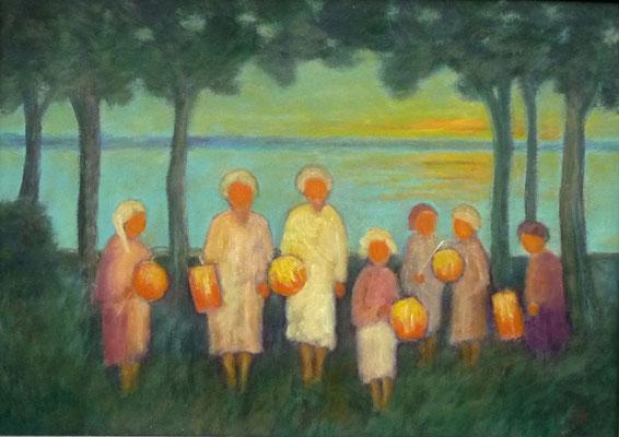 47) Hans Pick: Laternenkinder am See (50 x 70) Verkauft