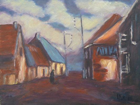 25) Hans Pick: Dorf in Flandern (50 x 70) Verkauft
