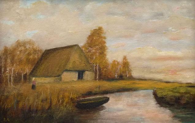 60) Hans Pick: Am Moorgraben (50 x 70) Verkauft