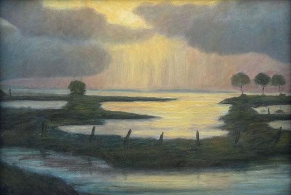 50) Hans Pick: Überschwemmte Moorwiesen (50 x 70) Verkauft