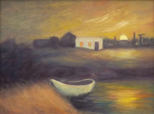 66) Hans Pick: Einsames Boot (24 x 30) Verkauft