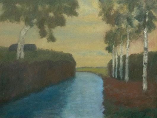 76) Hans Pick: Am Moorkanal (50 x 70) Verkauft