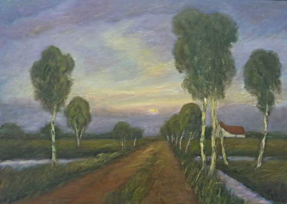 4) Hans Pick: Weg in das Moor (50 x 70) Verkauft