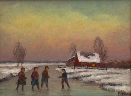 52) Hans Pick: Schlittschuhkinder im Moor (24 x 30) Unverkäuflich