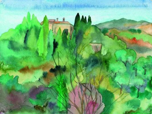 Günter Grass Algraphie: Haus in südlicher Landschaft (23,9 x 31,9 / 36 x 48,5; am Markt erhältlich)