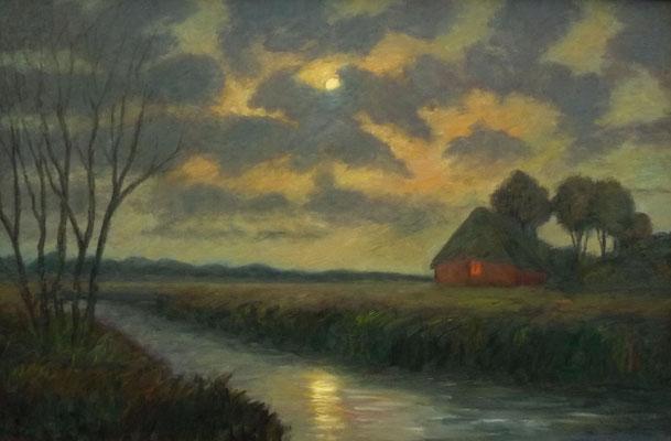 42) Hans Pick: Moorkate in der Mondnacht (80 x 120) Verkauft