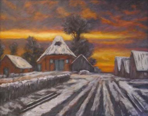 91) Hans Pick: Moordorf im Winter (80 x 120) Verkauft