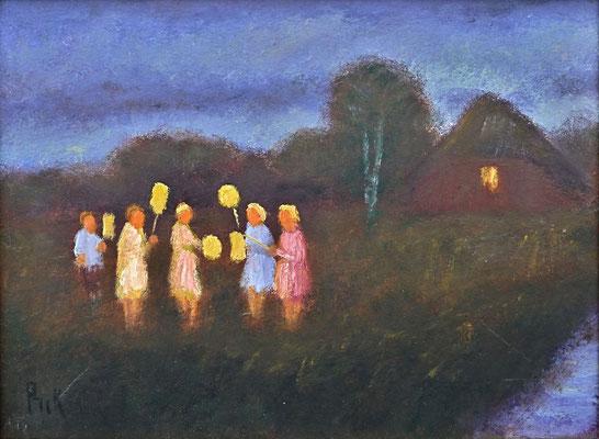 2) Hans Pick: Laternenkinder (18 x 24) Verkauft