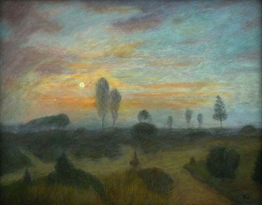 57) Hans Pick: Dämmerung im Moor (80 x 100) Verkauft