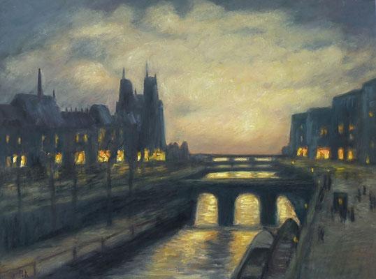 20) Hans Pick: Brücke in Paris (60 x 80) Verkauft