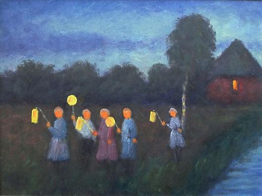 34) Hans Pick: Laternenkinder (18 x 24) Verkauft