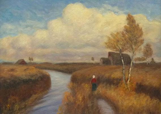 61) Hans Pick: Moorhof mit Bäuerin (50 x 70) Verkauft