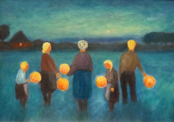 55) Hans Pick: Laternenkinder (50 x 70) Verkauft