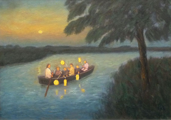 44) Hans Pick: Laternenkinder im Boot (50 x 70) Verkauft
