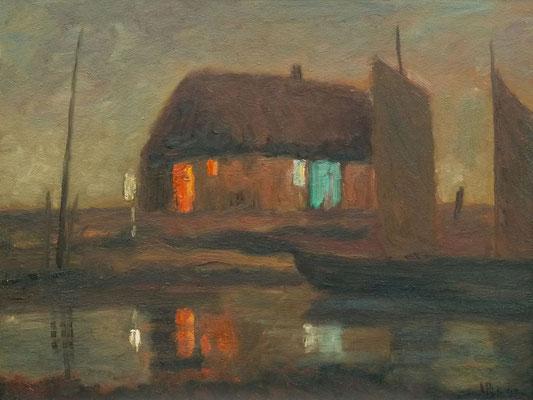 85) Hans Pick: Fährhaus im Moor (60 x 80) Verkauft