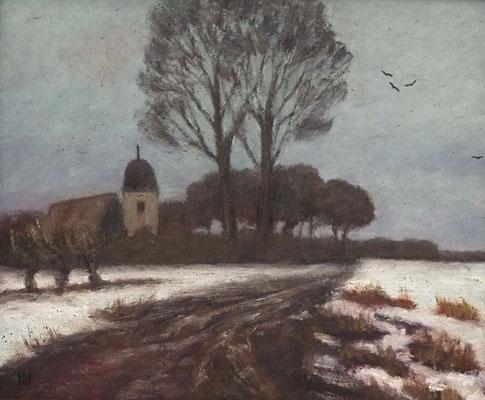 59) Hans Pick: Worpsweder Kirche (50 x 60) Verkauft