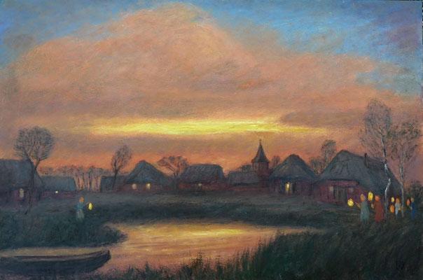 5) Hans Pick: Moordorf am Abend (50 x 90) Verkauft