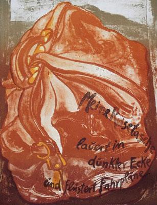 Günter Grass Algraphie: Meine Reisetasche (56 x 76; am Markt vergriffen, derzeit nicht lieferbar)